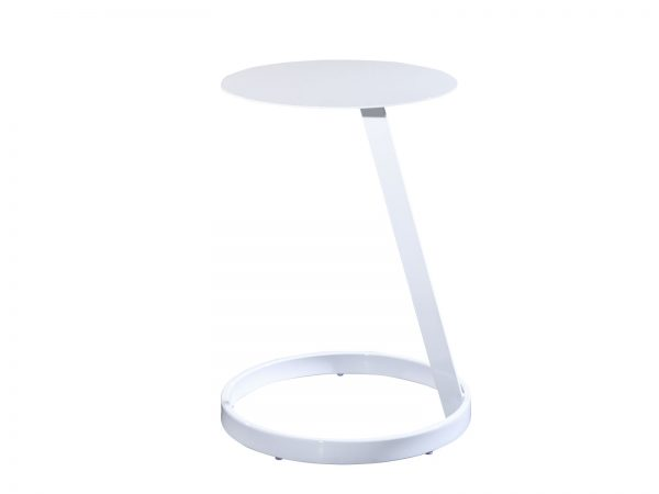 Aura Round Table is a small round metal side table with white lacquer finish can be used for meetings or in lounges and will create a more interactive space
