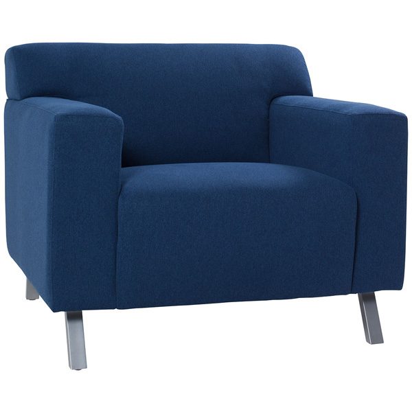Allegro Chair is a cool corporate blue club chair with mid-century styling and woolco fabric with brushed metal legs that is sure to impress your clients.