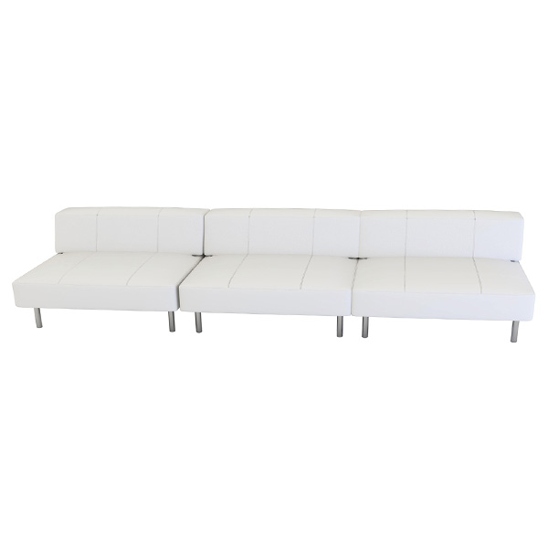 Endless Square Low Back Sofa is a modular white or black vinyl square sofa with chrome legs that will add a nice fresh look to your event.