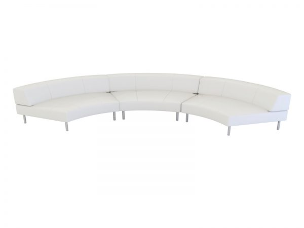 Endless Large Curve Low Back Sofa is a modular white or black vinyl curved loveseat with chrome legs that will add a nice fresh look to your event.