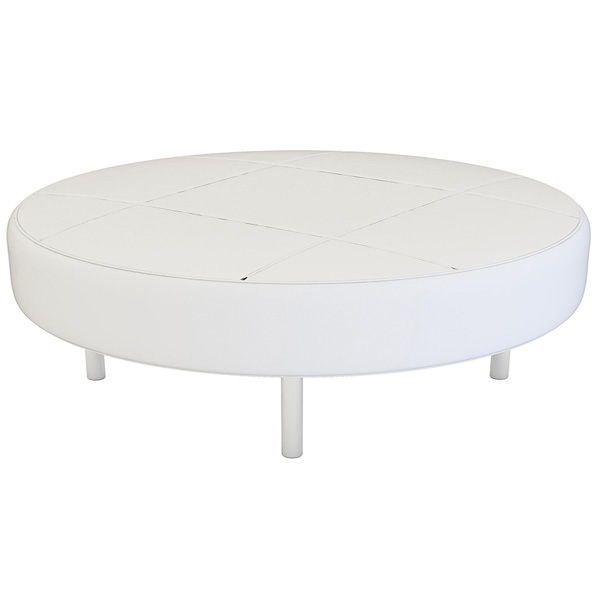 Round White Ottoman is a white vinyl ottoman that will make your tradeshow more productive by creating interactive environment.
