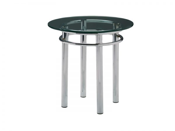Silverado End Table is a round glass cocktail table will make your tradeshow more productive by creating interactive environment.