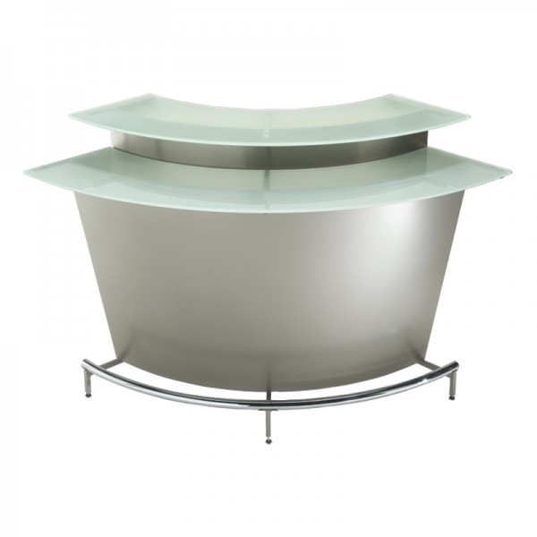 Martini Bar is a grey metal rounded bar with frosted glass top and chrome legs that turns every event into a party.