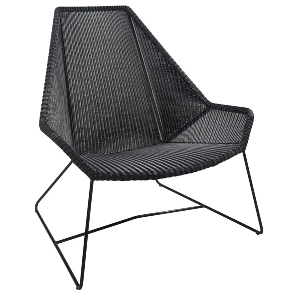 Breeze Chair is a black woven mesh chair that is perfect for indoor or outdoor seating environments. All-weather fabric is water and stain resistant.