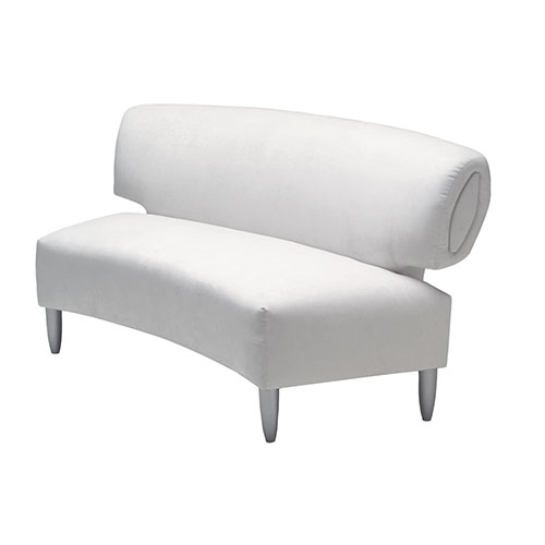 South Beach Sofa rental furniture with platinum suede and silver legs