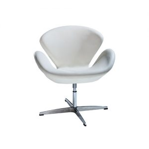Swanson Swivel Chair is an iconic white vinyl swivel arm chair with a chrome base will add a nice fresh look to your event.
