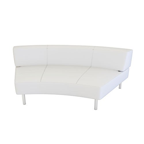 Concave White Vinyl Sofa is a modern curved sofa that is sure to make your next event or meeting an interactive space