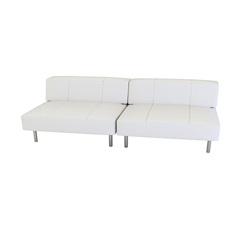 Endless Square Low Back Loveseat is a modular white or black vinyl square seat/loveseat with chrome legs that will add a nice fresh look to your event.