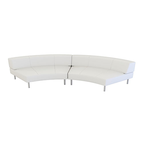 Endless Large Curve Low Back Loveseat is a modular white or black vinyl curved loveseat with chrome legs that will add a nice fresh look to your event.