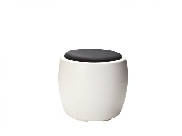 White Plastic Ottoman features a fabric seat available in four different colors and has room for storage underneath the cushion.