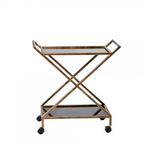 Laurel Bar Cart has a gold metal base and black acrylic shelving on a functional, stylish bar cart that is suited for serving or acting as an accent piece.
