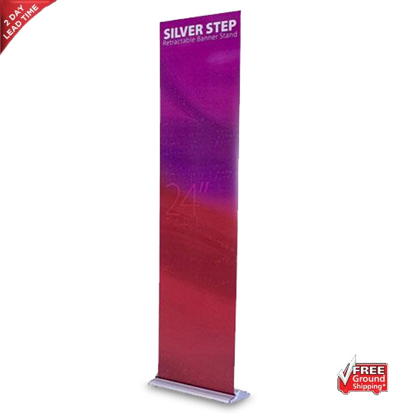 Silver Step Retractable Banner Stand – 24″
