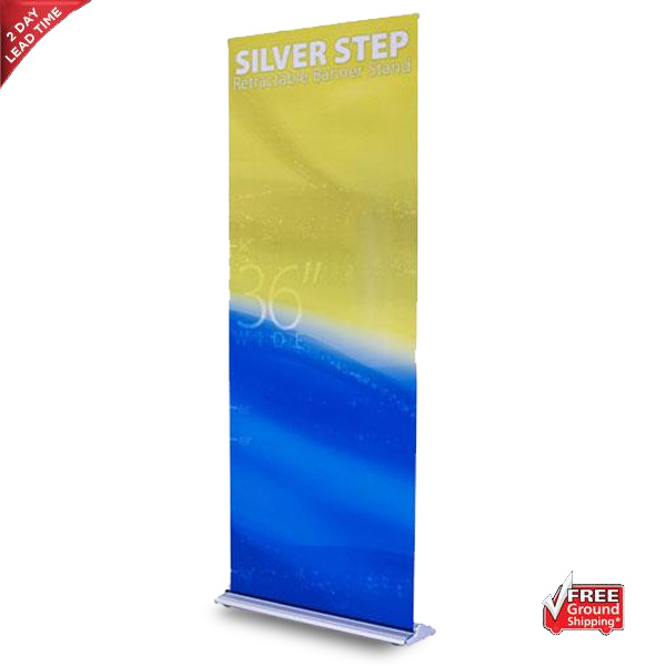 Silver Step Retractable Banner Stand – 36″