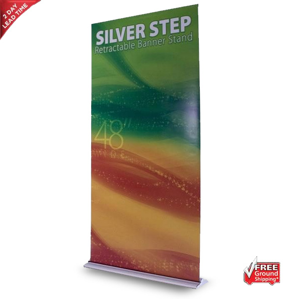 Silver Step Retractable Banner Stand – 48″