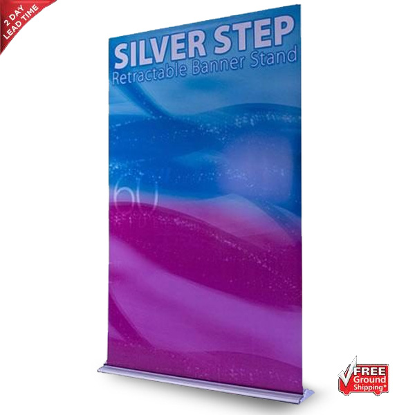 Silver Step Retractable Banner Stand – 60″