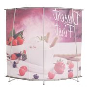 L-shaped banner stand curved graphic package back