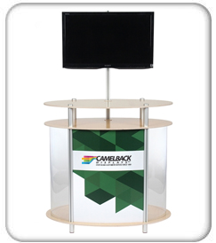 twist counter ellipse vertical showcase kiosk product