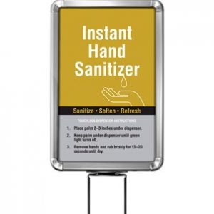 Beltrac-Stanchion-Hand-Sanitizer-Belt-Stanchion-Sign-Chrome