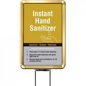 Beltrac-Stanchion-Hand-Sanitizer-Belt-Stanchion-Sign-Gold