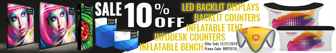 10% off special wavelight led backlit display counters