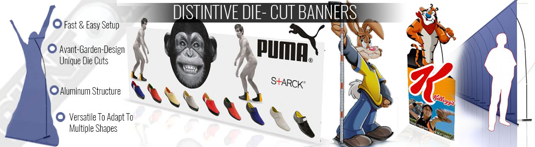 PUNTO Die-Cut Banner Stands And Backwalls