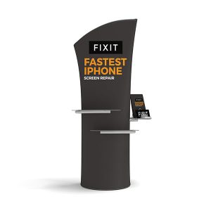 Brandcusi Banner Stand Angled with Plexiglass Shelves and Catalog Holder