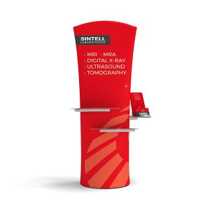 Brandcusi Banner Stand Curved with Plexiglass Shelves and Catalog Holder