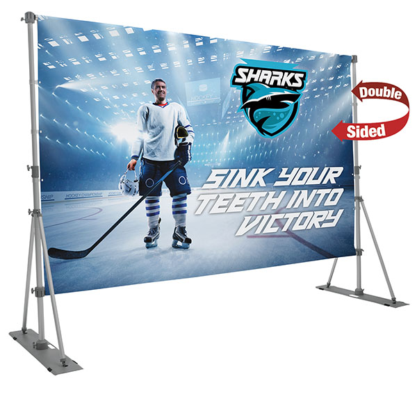 Headliner Display Kit Outdoor Banner Stand With Double Sided Graphics