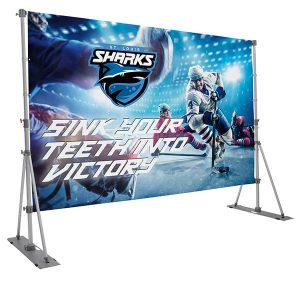 Headliner Display Kit Outdoor Banner Stand with single sided graphic