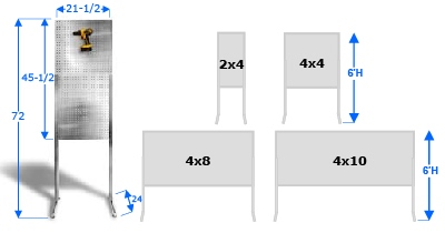 Freestanding Off The Ground PegBoard Merchandiser Displays, Different Sizes