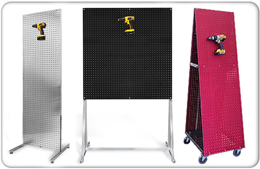 Freestanding PegBoard Merchandiser Displays And Tool Cart MX Different Sizes and Materials