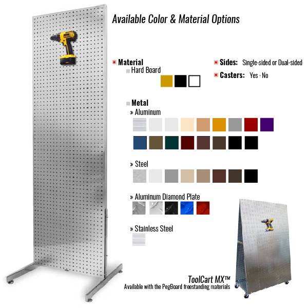 Freestanding PegBoard Merchandiser Displays Available Colors and Material Options
