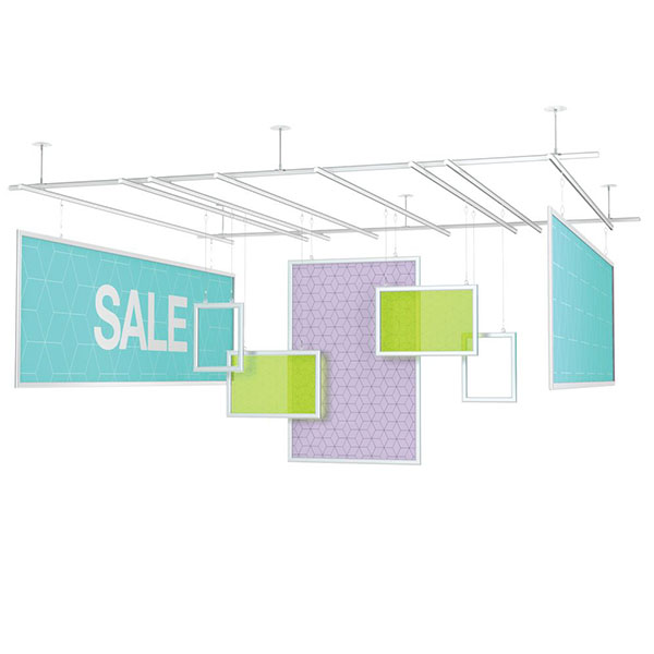 Universal Ceiling Tracks Suspended Rod Kits Hanging Displays