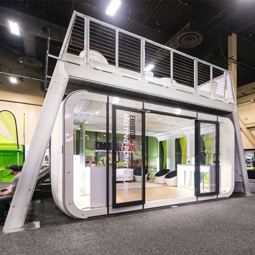 XDEK Custom Freestanding Exhibit Deck Customized With Full Color Graphics And XPO Custom Exhibit Room