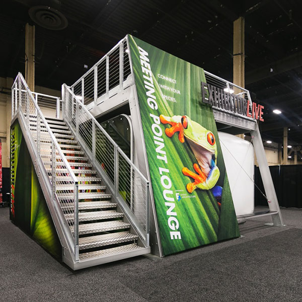 XDEK Custom Freestanding Exhibit Deck Customized With Graphics