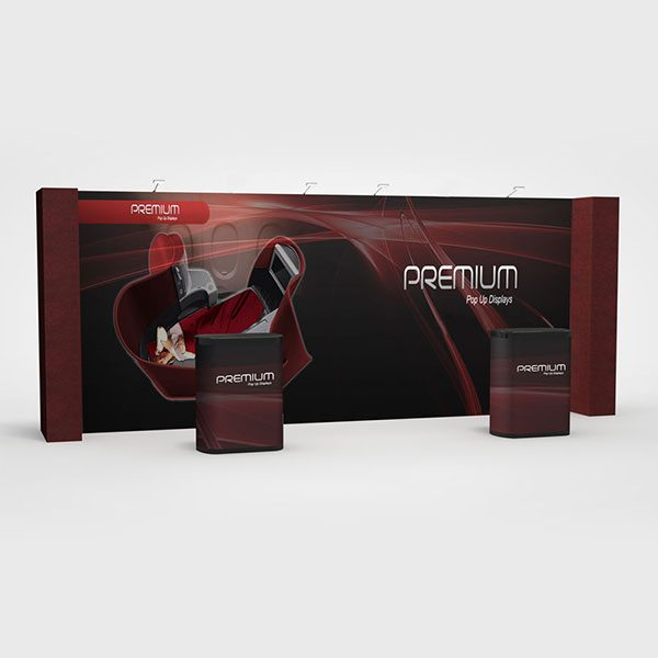 20ft Straight Premium Pop Up Graphic Fabric Display PRS11-G7DP with Returns