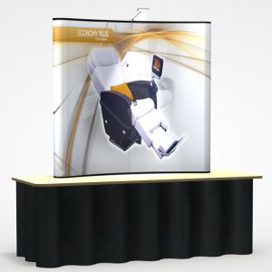 Economy Plus 6′ Curve Table Top Pop Up Display PL7-G5 DP-LED (Full Graphics, Light, Carry Case)