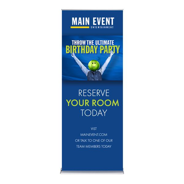 """Main Event Silver Step Retractable Banner Stand - 36"""""""