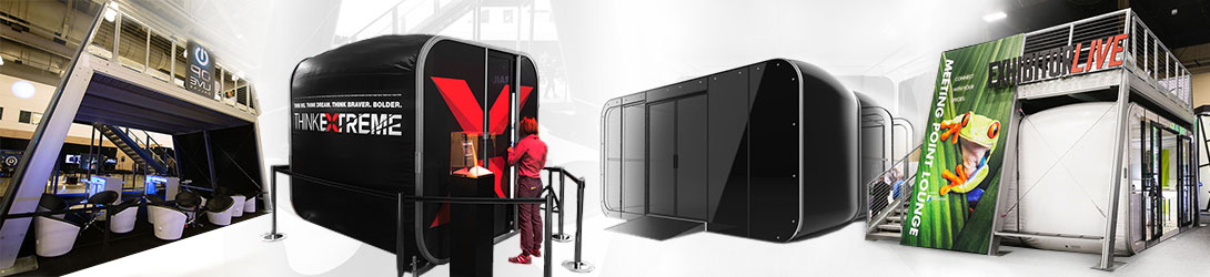 Mobile Pop-Up Retail And Event Pods Exhibit Conference Rooms For Trade Show Full Color Graphics