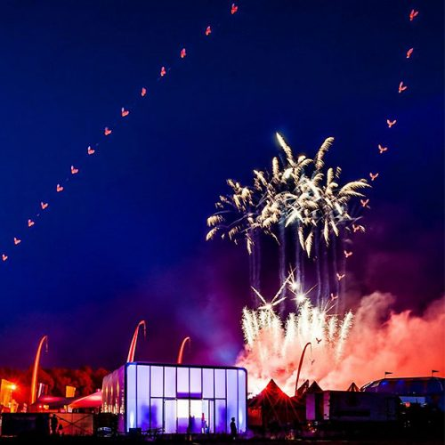 Mobile Pop-Up Retail And Fireworks For Live Event