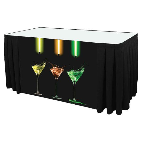 Poly Poplin Digital Printed Box Pleat Table Skirt