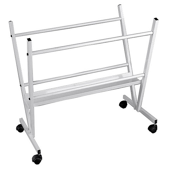 Print Racks Presentation Tools, Graphics, Posters And Paintings Welded Steel Legs With Wheels White