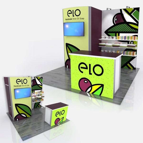 Retail ELO 10'x10' Curved Modular Display System GK-1013