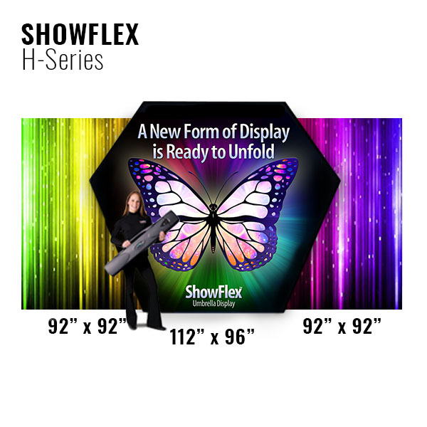 Showflex Freestanding Hexaframe Display Tension Fabric Pop-Up Displays Dimensions