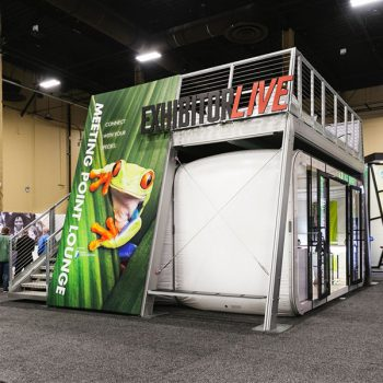 X-Dek Custom Freestanding Exhibit Deck Customized With Full Color Graphics And XPO Mobile Pop-Up Retail Side View