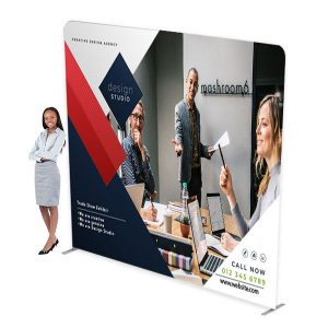 10ft Waveline XL Media Panel Tension Fabric Display With Full Color Graphics
