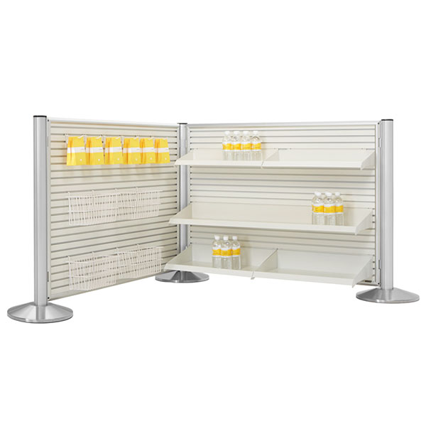 Hinged Framed Slatwall Panels With Merchandising Posts With Merchandising Posts