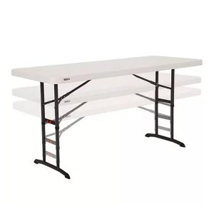 6ft Almond Commercial Adjustable Height Folding Table