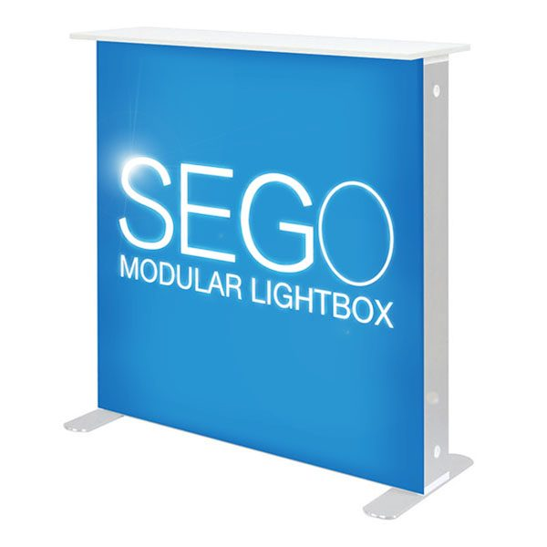 3' x 3' SEGO Modular Lightbox Exhibit Backlit Counter With SEG Fabric Graphics