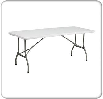6' bi-fold granite plastic folding table main